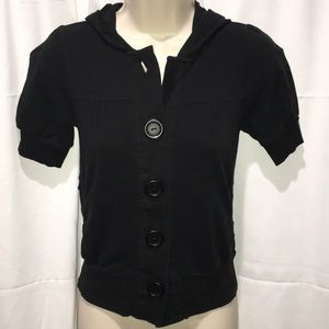 Twenty One Large Button hoodie black top